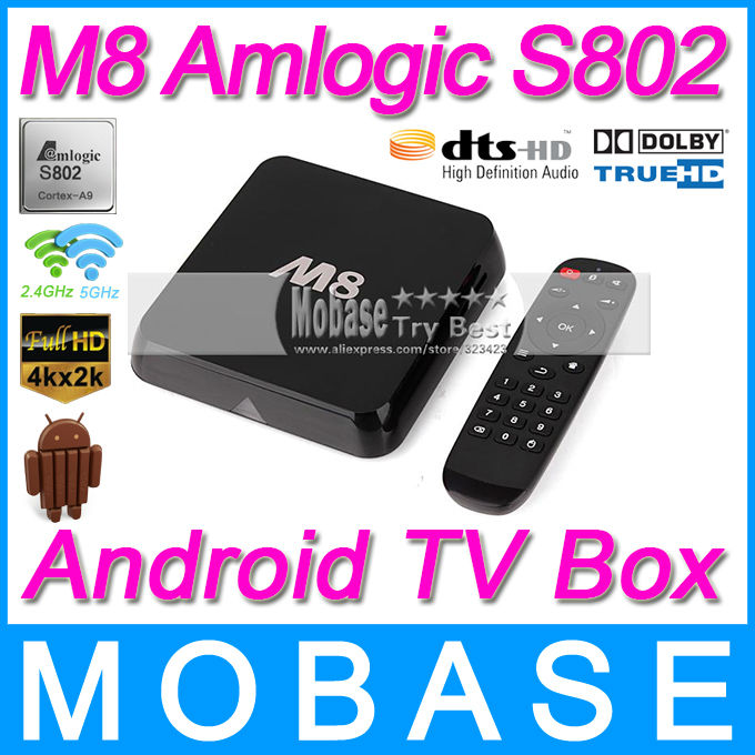 MOBASE M8 Amlogic S802 Quad Core Android TV Box 2G/8G Mali450 GPU 4K HDMI XBMC Bluetooth 2.4G/5G Dual WiFi HD Mini PC Receiver(China (Mainland))