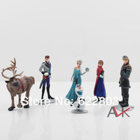 Free Shipping 6pcs/set Frozen Anna Elsa Hans Kristoff Sven Olaf Collection PVC Action Figures Toys Classic Toys