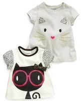 Retail new 2014 summer cartoon cat girls boys leopard print 100% short-sleeve t-shirts baby cotton tops children clothing