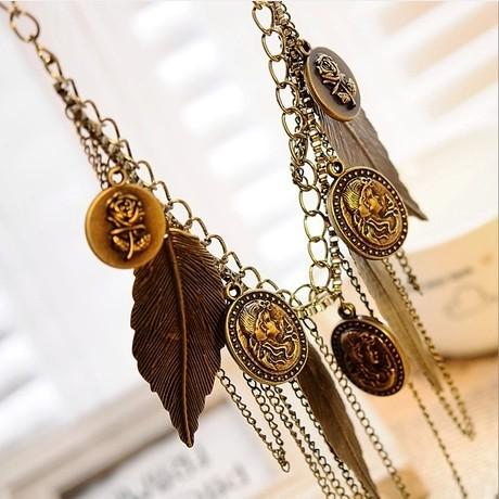 GH366 Новый Vintage слои листьев Кисточкой тела Цепи Бронзовые Chokers Ожерелья для женщин оптовая us 366