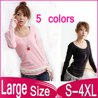 Spring storms selling ladies round neck long-sleeved solid color T-shirt L, XL, XXL, XXXL, 3XL,XXXXL,4XL free shipping