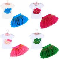 Retail Top selling! Girls clothing sets hello kitty T-shirt + tutu skirt kids clothing free shipping