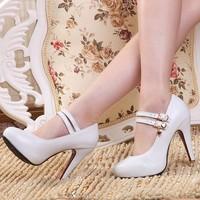 ENMAYER  2014 New arrival Spring Women shoes Pumps Wedding shoe Round toe Platforms Buckle Rhinestone Rubber Party