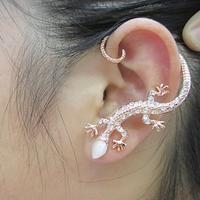 3pcs/lot popular stud earring ear hook sparkling rhinestone gold/silver  gekkonidae lizard hot-selling earring
