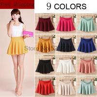 Free shipping 2015 New Fashion Women's Skater Girl's Candy Elastic High Waist Skater Mini Skirt 9 Colors High quality