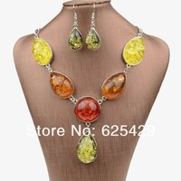 Free shipping new amber Earrings necklace big african costume beads wedding jewelry set for women 2014