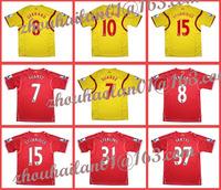 14-15 EPL Liverpool home Away soccer jersey Thailand quality sweatshirt version +EPL patch+ Suarez #7  Gerrard #8 Sturridge #15