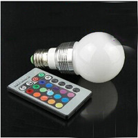 AC 85-265V RGB LED Lamp 3W E27 led 16 Color Bulb Lamp with Remote Control led lighting multiple colour free shipping
