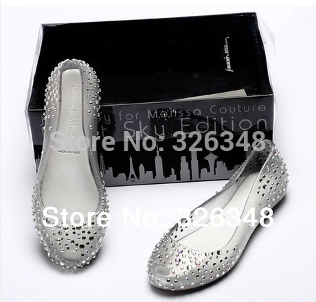 With original box Melissa Swarovski Crystal Diamond women flat sandals Princess Jelly Shoes Fish Mouth Transparent shoes(China (Mainland))