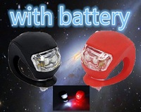 2x Silicone Bike Bicycle Cycling Head Front Rear Wheel LED Flash Light Lamp one black one red