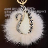 Swan / key chains / woman / buckle pendant plush / wool ball Rhinestone / feather / girl