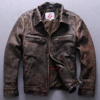 2014 new Autumn men's clothing beckham thickening retro finishing slim cowhide genuine leather coat  Y2P0 WTP