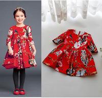 2015 Autumn children girls dresses custom jacquard dress Chinese style flower big red long-sleeved princess dress brand quality
