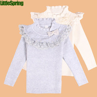 LittleSpring Children tops! Kids long sleeve clothes girls lace bow t shirt clothing for girls t shirt