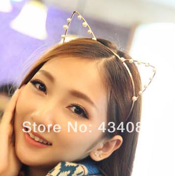Free shipping cheap new 2014 summer one spo cat ears hair bands hair accessory pearl hair accessory headband hair pin cat ears(China (Mainland))