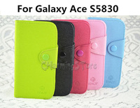 For Galaxy Ace S5830 Case MLT Contrast Color Wallet PU Leather Case Cover With Soft TPU inner For Samsung Galaxy Ace S5830