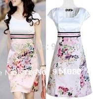 S,M,XXL,3XL,4XL,5XL 2014 summer women short sleeve Slim spring print round Korean plus size knee girl autumn wedding dress