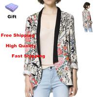 2014 New Women's Vintage Flower Print Blazers & Jackets Fashion Floral Suits For Women Desigual Female Long Sleeve Blaser Tops