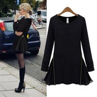 2014 spring new women's autumn and winter long sleeve black Slim thin side zipper skirt Elegant short dresses free shipping