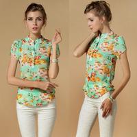 Hot Sale casual women blouse short-sleeve floral print chiffon blouse top, summer shirts S/M/L/XL/XXL/XXXXL dropship