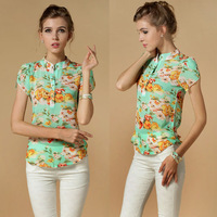 Hot Sale 2014 casual women blouse short-sleeve floral print chiffon blouse top, summer shirts S/M/L/XL/XXL/XXXXL dropship