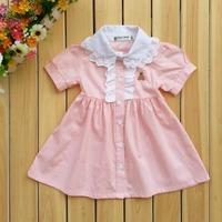 Summer baby girl dress 100% cotton baby short-sleeve skirt princess doll pink shirt