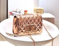 New 2014 Fashion Hologram Bag Patent Leather Shoulder Bags Plaid Chain Clutch ladies Messneger Bag cross body Gold Handbags