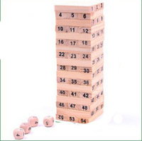 58pcs/set Children's wooden toys Giftware Digital educational toy wood Block Building Block