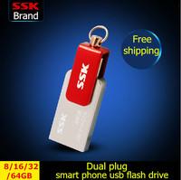 SSK 100% 64GB 32GB 16GB 8GB Smart phone USB flash drives pen drive double plug MINI metal usb flash drives SFD239 Free shipping