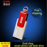 SSK 100% 64GB 32GB 16GB 8GB Smart phone USB flash drives pen drive double plug MINI metal usb flash drives SFD239 Free shipping