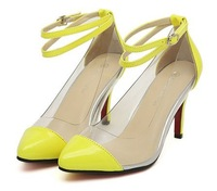 free shipping multicolour transparent patchwork beautiful high-heeled shoes patent  leather colorant  pumps