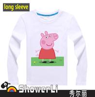 Cotton long sleeve children t shirts,cute cartoon t-shirt,game boys girl t-shirt figure kids wear  fall peppa pig free shipping