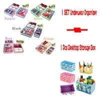 Foldable Non-woven Home Storage Box Set  For Underwear Bra Sock  Ties +Folding Cosmetics Desktop Organizer Tidy  Makeup Case