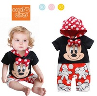 New Summer 2014 Baby Girls Climb Bodysuits Mickey Mouse Bebe Hoodies Clothing