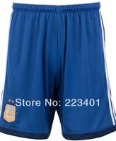 Top Thai quality Argentina soccer 2014 world cup argentina away shorts team football bottom blue 2015 training uniform kit short