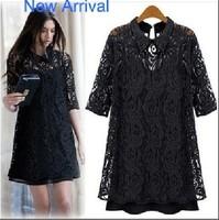 New Arrival High Quality Top Sale Hollow Lace Half Sleeve Black Color Plus Size Slim Sexy Women's Crochet Floral Dresses