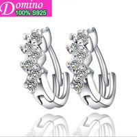 Fashion unique personality bun zirconium earrings 925 sterling silver ear clasp silver jewelry female S925