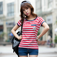 2053 free shipping 2014 summer women new fashion red black stripe short sleeve round neck t shirts plus size cute blouse tops XL