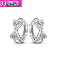 Men and women can wear a simple fashion glossy genuine 925 sterling silver ear clasp silver jewelry earrings Korean women