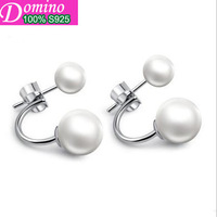 New Double Pearl Earrings Mother Of Pearl Beads Babe Sterling Silver Jewelry Genuine 925 Sterling Silver Stud Earrings For Women