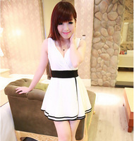 Free Shipping elegant V-neck high waist 2014 deep v drees M L