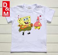 Cotton short sleeve children t shirts,cute cartoon,game boys girls t-shirt figure kids wear 2014 new summer yellow SpongeBob