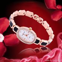 King Girl Women's Rhinestone Watch Oval Rose Gold Crystal Ladies Wristwatches 2014