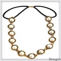 Sheegior 2014 New Vintage Pearl Hair Accessories Women headbands head chain Tiara Free shipping !