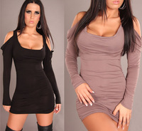 Sexy lingerie black,gray dichromatic off-the-shoulder long-sleeved sexy clubwear in Europe and America N079 porn babydolls