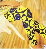 2014 Korean fashion wild personality smile neon pants wholesale sexy printed black milk leggings