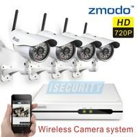 Zmodo CCTV 4CH wireless night vision video surveillance ip wifi camera system 4ch 720p NVR recorder kit+Free Shipping