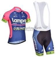 2014 NEW! Lampre Merida short sleeve cycling jersey bib shorts set bike bicycle wear clothes jersey pants,Free shipping!