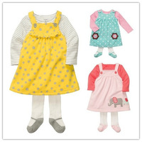 Spring 2014New Baby Girls Suit, 3 Colors Cute  Dress Suit,Baby Girls Cute Fleece Dress + Shirt + Leggings 3pcs Set