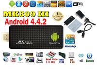 Android 4.4.2  mini PC Quad core RK3188T Google android tv stick MK809III 2GB RAM 8GB ROM Bluetooth Wifi  HDMI MK809 III,XBMC
